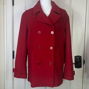 ☀️Lands' End red 100 % wool double breasted coat☀️